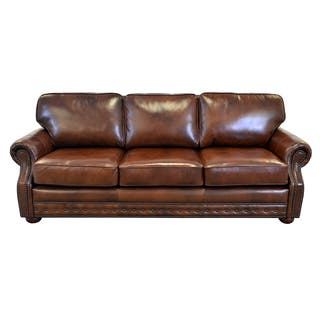 middleton genuine top grain leather nailhead trimmed sofa - Red Leather Sofa