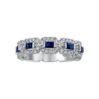 Beverly Hills Charm 14K White Gold Blue Sapphire and 2/3ct TDW Diamonds Anniversary Band Ring (H-I, SI2-I1)