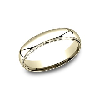 18k Yellow Gold Men's 5mm Comfort-fit Traditional Milgrain Wedding Band