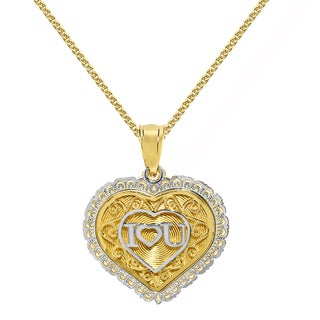 14k Two-tone Gold Elegant 'I Love You' Heart Pendant and Yellow Gold Flat wheat Chain
