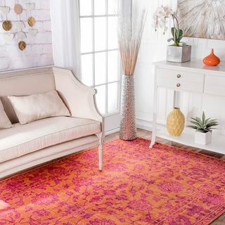 nuLOOM Orange Traditional Magnolia Floral Area Rug