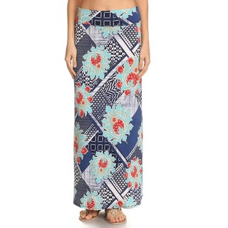 Women's Multicolor Cotton and Spandex Mixed Patchwork Maxi Skirt