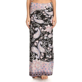 Women's Multicolor Paisley Print Maxi Skirt