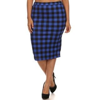 Women's Spandex Blend Blue Plaid Plus Size Pencil Skirt