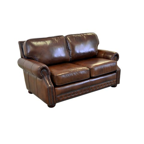 Middleton Genuine Top Grain Leather Nailhead Trimmed Loveseat