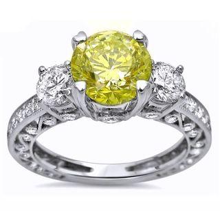 Certified Noori 18k Gold 2ct TDW Yellow Round Diamond 3-stone Engagement Ring