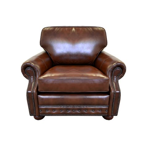 Middleton Genuine Top Grain Leather Nailhead Trimmed Armchair