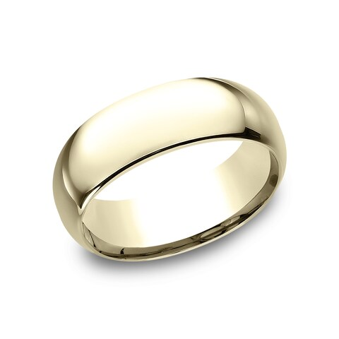 18k Yellow Gold Men's 8 mm Comfort-Fit Inside Comfort Fit Wedding Band - 18K Yellow Gold