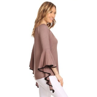 Women's Solid Rayon/Spandex Draped Tunic
