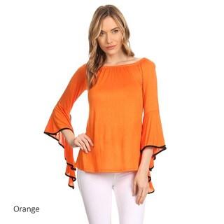 Women's Solid Rayon/Spandex Draped Tunic