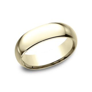 18k Yellow Gold Men's 7 mm Traditional Domed Profile Comfort Fit Wedding Band