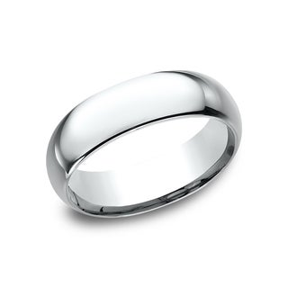 18k White Gold Men's 7 mm Traditional Domed Profile Comfort Fit Wedding Band