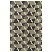 Hand-Tufted Lola Mosaic Charcoal Tiffany Wool Rug - 9'6 x 13'