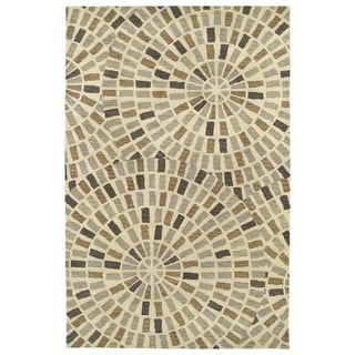 Hand-Tufted Lola Mosaic Brown Cobblestone Wool Rug (9'6 x 13'0)