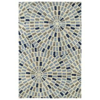 Hand-Tufted Lola Mosaic Blue Cobblestone Wool Rug (9'6 x 13'0)