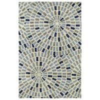 "Hand-Tufted Lola Mosaic Blue Cobblestone Wool Rug - 9'6"" x 13'"