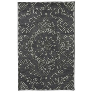 "Hand-Tufted Lola Mosaic Charcoal Medallion Wool Rug - 9'6"" x 13'"