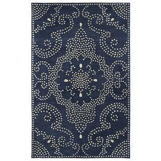 Hand-Tufted Lola Mosaic Navy Medallion Wool Rug (9'6 x 13'0)