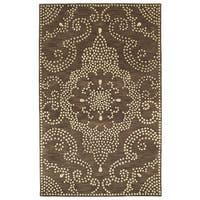 "Hand-Tufted Lola Mosaic Brown Medallion Wool Rug - 9'6"" x 13'"