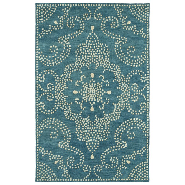 Hand Tufted Lola Mosaic Teal Medallion Wool Rug 9 6 X 13