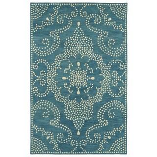 Hand-Tufted Lola Mosaic Teal Medallion Wool Rug (9'6 x 13'0)