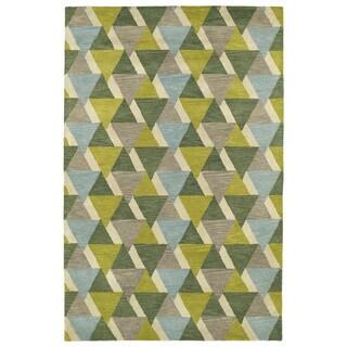 "Hand-Tufted Lola Mosaic Lime Green Tiffany Wool Rug - 9'6"" x 13'"