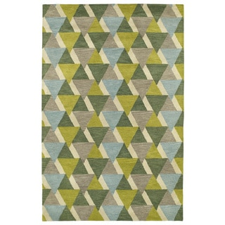 Hand-Tufted Lola Mosaic Lime Green Tiffany Wool Rug (9'6 x 13'0)