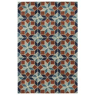Hand-Tufted Lola Mosaic Turquoise Wool Rug (9'6 x 13'0)