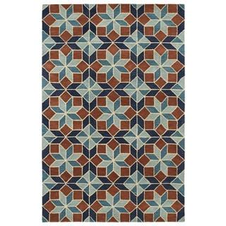Hand-Tufted Lola Mosaic Turquoise Wool Rug (9'6 x 13'0)