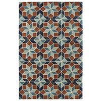 "Hand-Tufted Lola Mosaic Turquoise Wool Rug - 9'6"" x 13'"