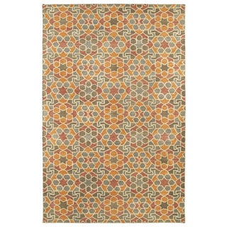 Hand-Tufted Lola Mosaic Orange Wool Rug (9'6 x 13'0)