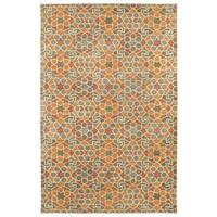 "Hand-Tufted Lola Mosaic Orange Wool Rug - 9'6"" x 13'"