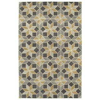 Hand-Tufted Lola Mosaic Grey Wool Rug (9'6 x 13'0)