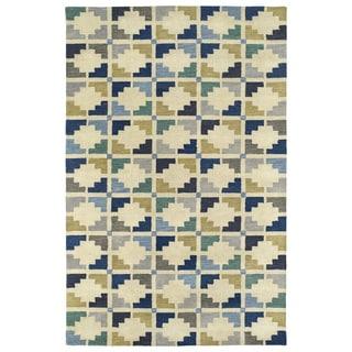 Hand-Tufted Lola Mosaic Blue Motif Wool Rug (9'6 x 13'0)