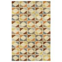 "Hand-Tufted Lola Mosaic Sand Motif Wool Rug - 9'6"" x 13'"