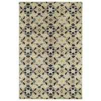 "Hand-Tufted Lola Mosaic Charcoal Wool Rug - 9'6"" x 13'"