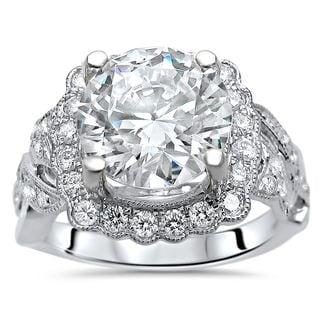 Noori 3 1/4ct TGW Round Moissanite Diamond Engagement Ring 14k White Gold