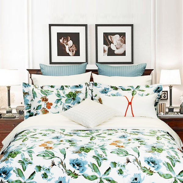Floral Canvas 1-piece Cotton Duvet Cover