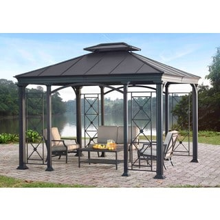 Sunjoy Aurora Steel Black Hard Top Gazebo (12' x 10')