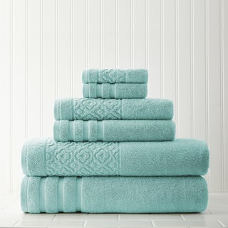 Trellis Jacquard Border 6-piece Towel Set