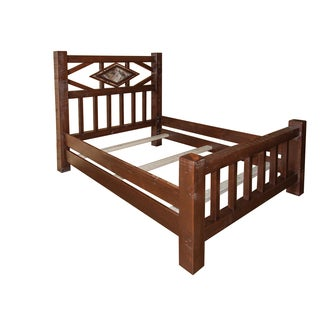 Barn Wood Style Timber Peg Diamond Mission Bed -Twin, Full, Queen, or King