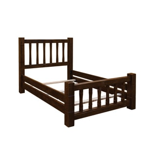 Barn Wood Style Timber Peg Mission Bed - Choice of Twin, Full, Queen, or King