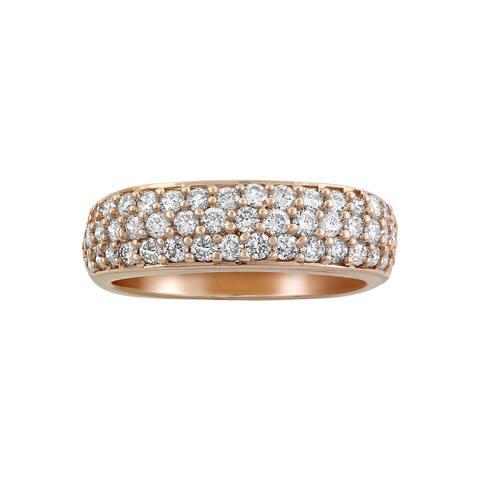 14k Rose Gold 1ct TDW Diamond Wedding Band Ring by Beverly Hills Charm