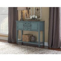 Powell Duplin Antique Blue Finish Wood Console Table