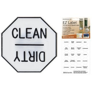 KitchenArt 100 Clear Round Spice Pantry Labels With Fox Run Dishwasher Magnet Bundle