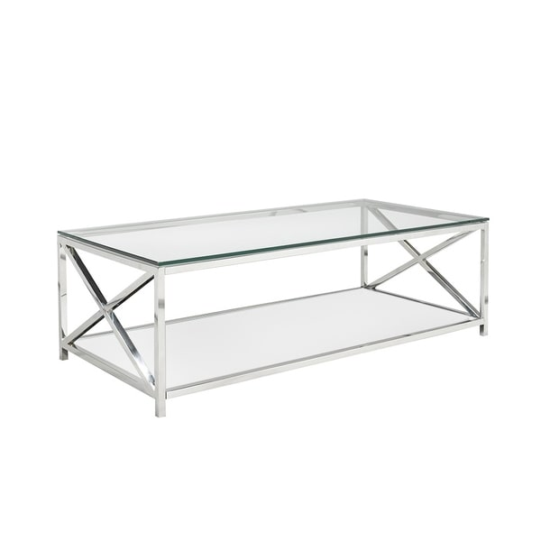 Shop Ellen Glass And Metal Rectangle Coffee Table Free Shipping