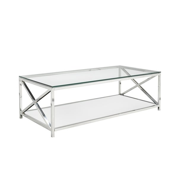 Criss Cross Coffee Table.Ellen Glass And Metal Rectangle Coffee Table