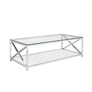 Ellen Glass and Metal Rectangle Coffee Table