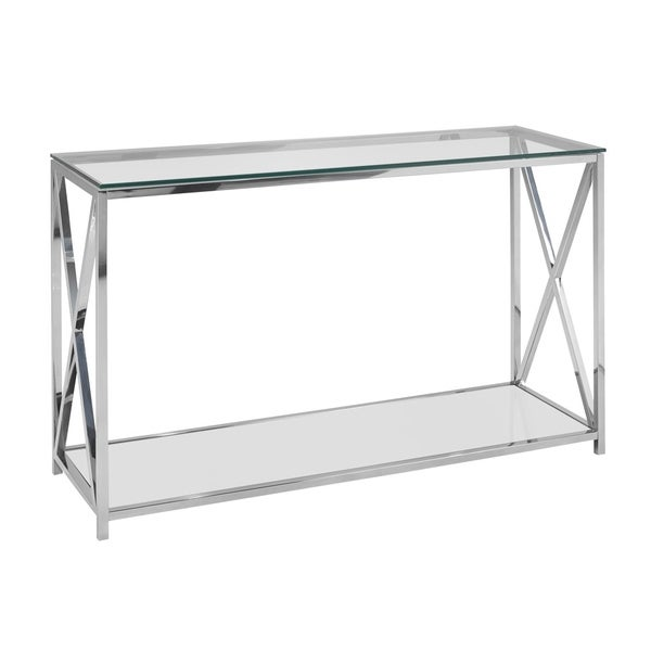 Shop Ellen Contemporary Glass Top Metal Rectangle Console Table On