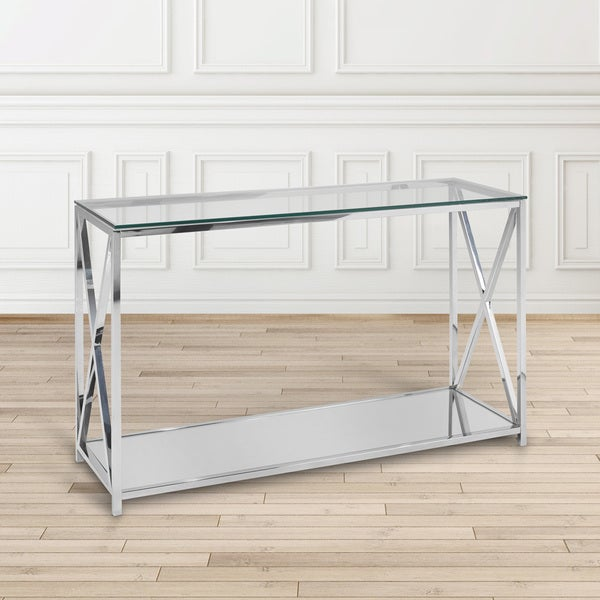 Ellen Contemporary Glass Top Metal Rectangle Console Table